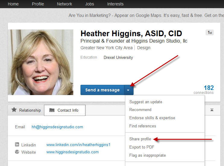 share profile on LinkedIn