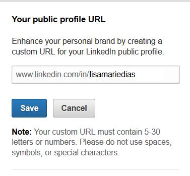 Vanity URL on LinkedIn