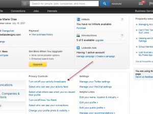 adjusting your settings in LinkedIn