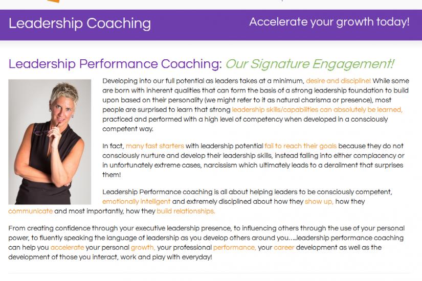 Erica Peitler Leadership Coaching Website
