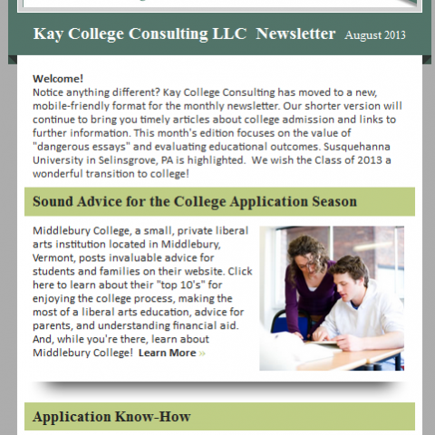 Kay College Consulting LLC Newsletter
