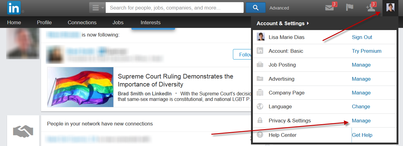 Un hiding a connection on LinkedIn