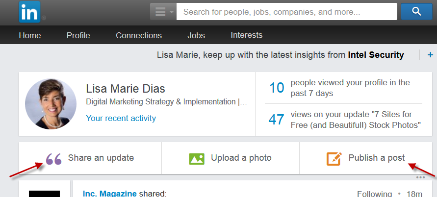 the difference between sharing an update and publishing a post on LinkedIn