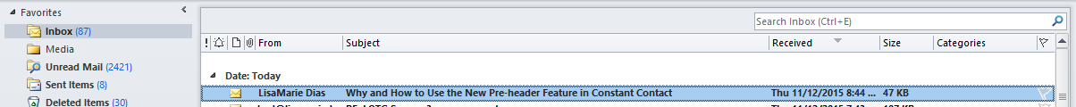 Preheader outlook