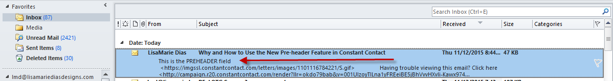 Constant Contact Preheader feature