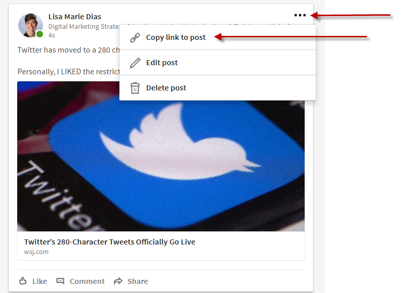 How to Link to a Post on LinkedIn – LisaMarie Dias Designs
