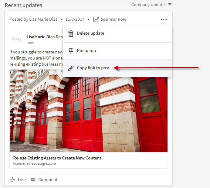 How to link to a post on LinkedIn