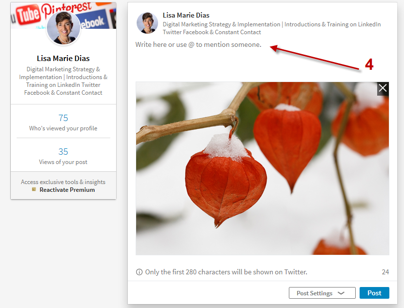 how to add an image and a link on LinkedIn
